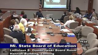 Michigan State Board of Education Meeting for June 14, 2016 - Morning Session