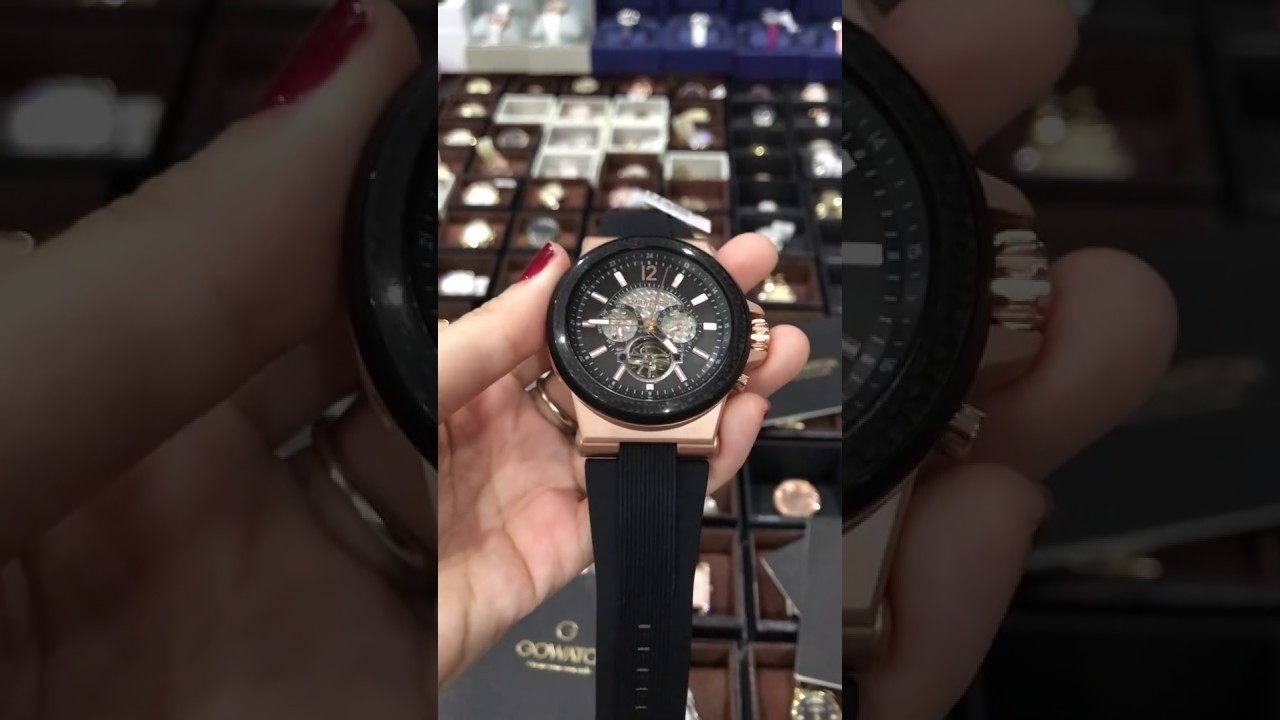 d327117ec7ae Michael Kors Men s MK9019  Dylan  Chronograph Automatic Black Silicone Watch