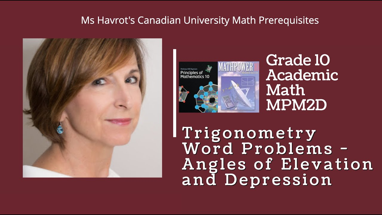 hight resolution of Grade 10 Trigonometry Word Problems - angles of elevation and depression -  YouTube