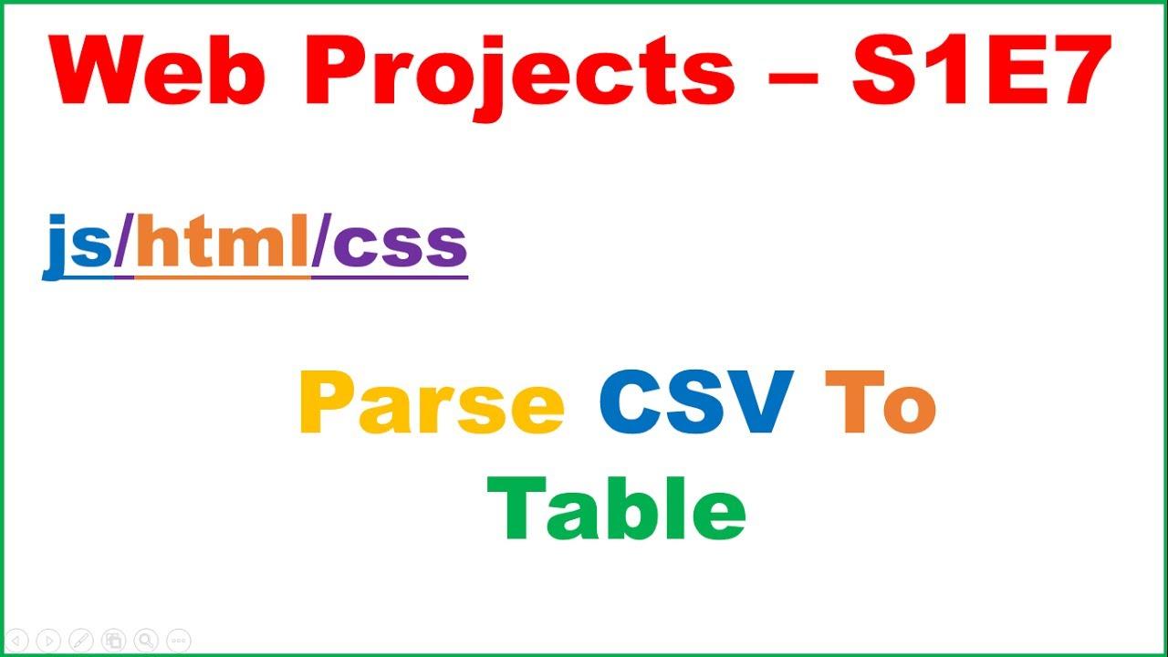 Web development s1e7 csv parse remote csv render in for Table a vi 6 2 of the stcw code