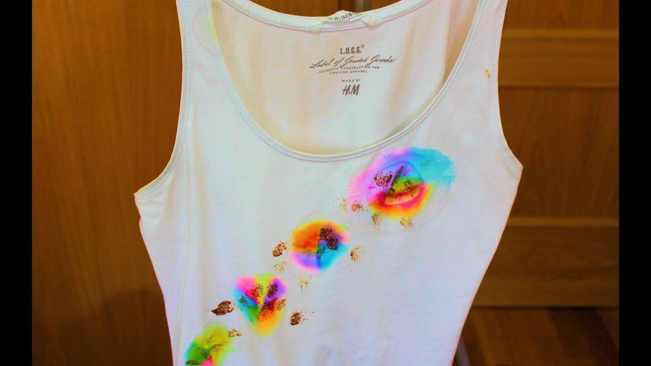 Diy camiseta pintada o te ida con alcohol youtube - Pinturas para pintar camisetas ...