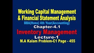 Inventory Management //Materials// Working Capital Management// Lecture-1