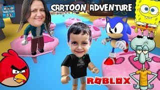 ESCAPE from the DRAWINGS: SpongeBob SONIC ANGRY BIRDS (Roblox Adventure Cartoon Obby) Family Plays