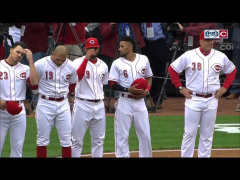 Cincinnati Reds starting lineup is introduced on Opening Day