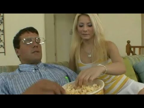 Creepy nerd puts his cock in the popcorn bucket
