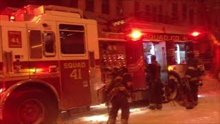 Brand New FDNY Squad 41 & Rescue 3 On Scene of 3rd Alarm Fire During Snow Blizzard In The Bronx