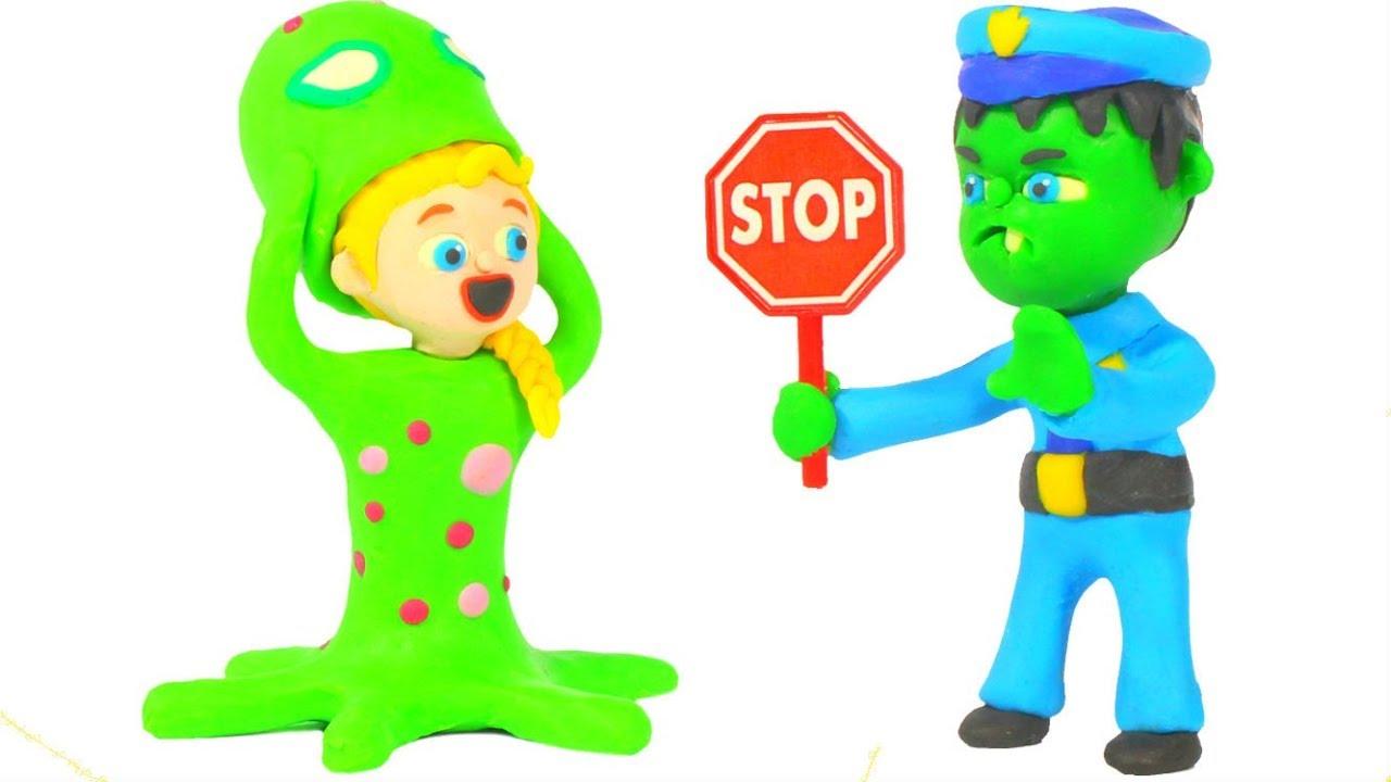 BABY HULK POLICE MEETS STRANGE ALIENS ❤ Spiderman, Hulk & Frozen Play Doh Cartoons For Kids