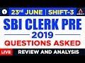 SBI Clerk Prelims Exam Analysis 2019 for 23rd June | Shift 3 Review