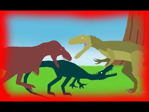 Dinosaurs Cartoons Battles: Daspletosaurus vs Baryonyx vs Giganotosaurus Динозавры