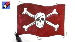 How to draw  skull and Cross Bones Real Easy