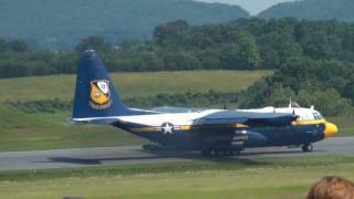 C-130 Fat Albert short field landing over obstacle & taxi in reverse at Lynchburg Airshow on 5/22/11