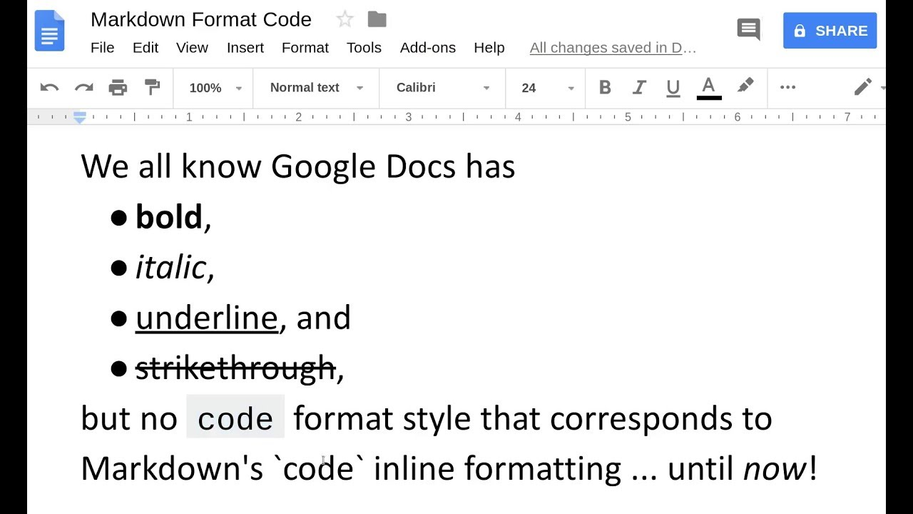 Google Docs Add-on: Markdown Format Code