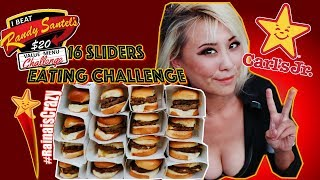 16 Carl Jr's Double Cheeseburger Sliders Eating Challenge | Randy Santel's $20 Value Menu Challenge