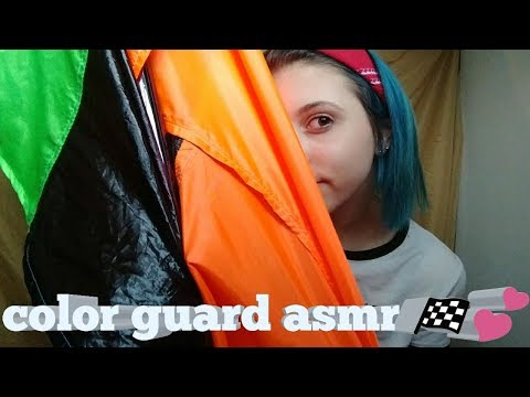 ASMR | COLOR GUARD/FLAGS 🎵🚩 (whispered, repeated words, tapping, crinkling, fabric sounds)
