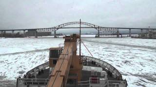The US Coast Guard cutter Alder breaks ice in the Duluth harbor
