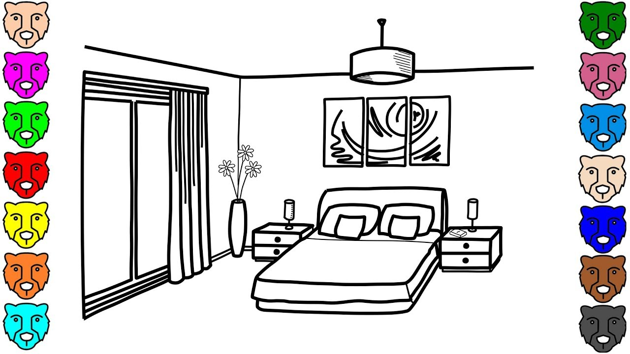 bedroom coloring pages for kids how to draw bedroom and 10346 | maxresdefault