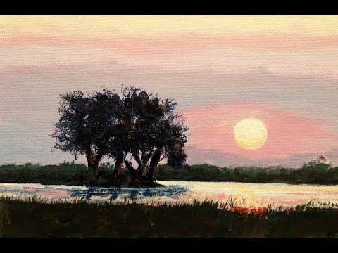Malen mit Acryl: Afrikanischer Sonnenuntergang (Teil 1/2)