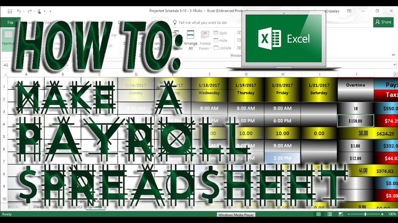 microsoft excel how to make a payroll spreadsheet youtube