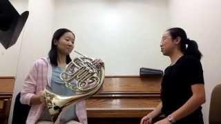 Beginning French horn lesson