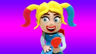 Frozen Elsa New Hair Style - Superhero Babies Play Doh Cartoons & Stop Motion for kids video