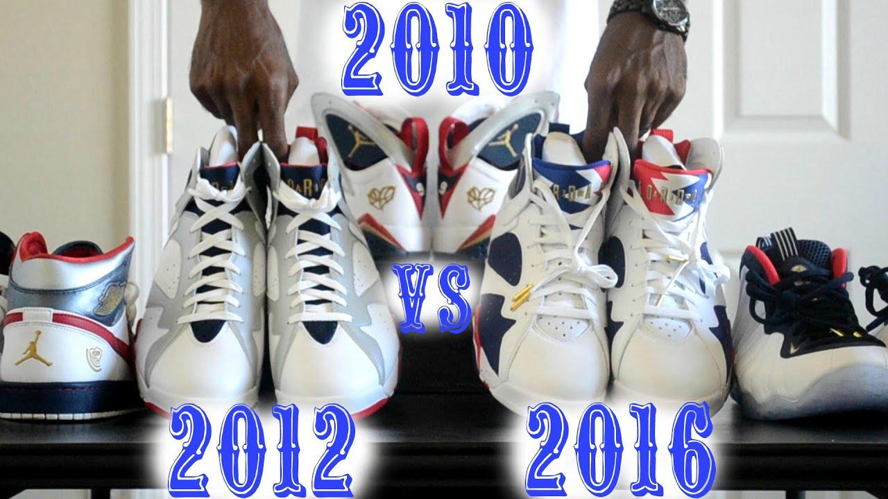 680389632b94a3 2010   2012 Jordan Olympic 7 vs. 2016 Olympic 7 Tinker Alternate Comparison
