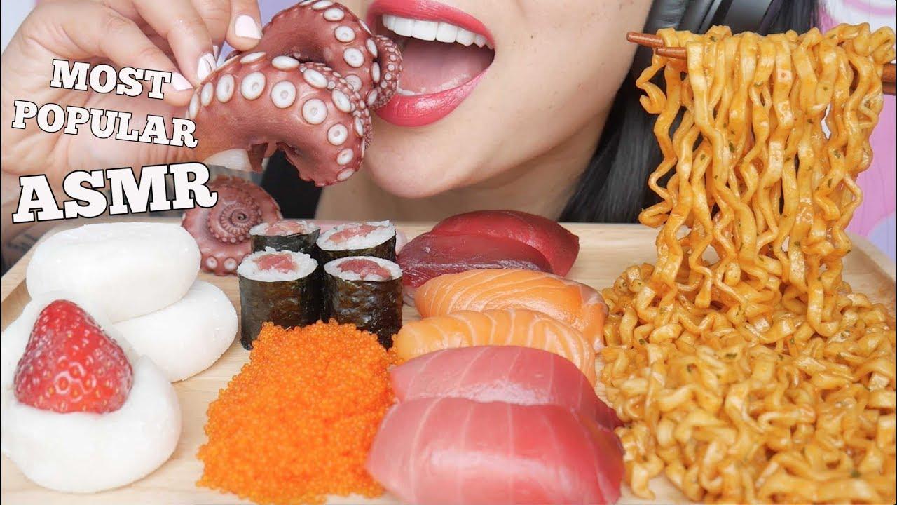 Asmr Most Popular Food Noodles Mochi Sushi Octopus Extreme Eating Sounds No Talking Sas Asmr Youtube If you enjoy eating, whispering sounds, eating show/mukbang. asmr most popular food noodles mochi sushi octopus extreme eating sounds no talking sas asmr