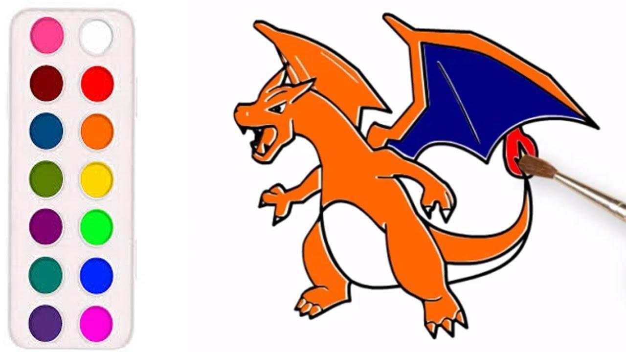 Cara Menggambar Dan Mewarnai Kartun Pokemon Naga Charizard