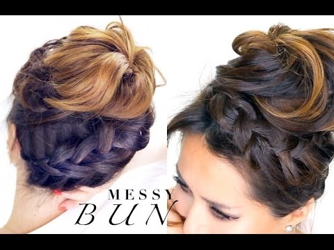 braided messy bun hairstyle everyday