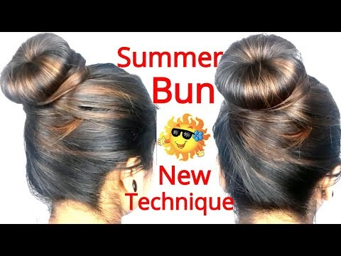 summer-bun-hairstyles-using-new-technique-||-hairstyles-for-thin-hair-||-summer-hairstyle