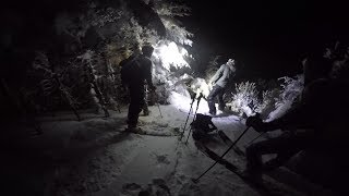 Backcountry skiing at night in Vermont
