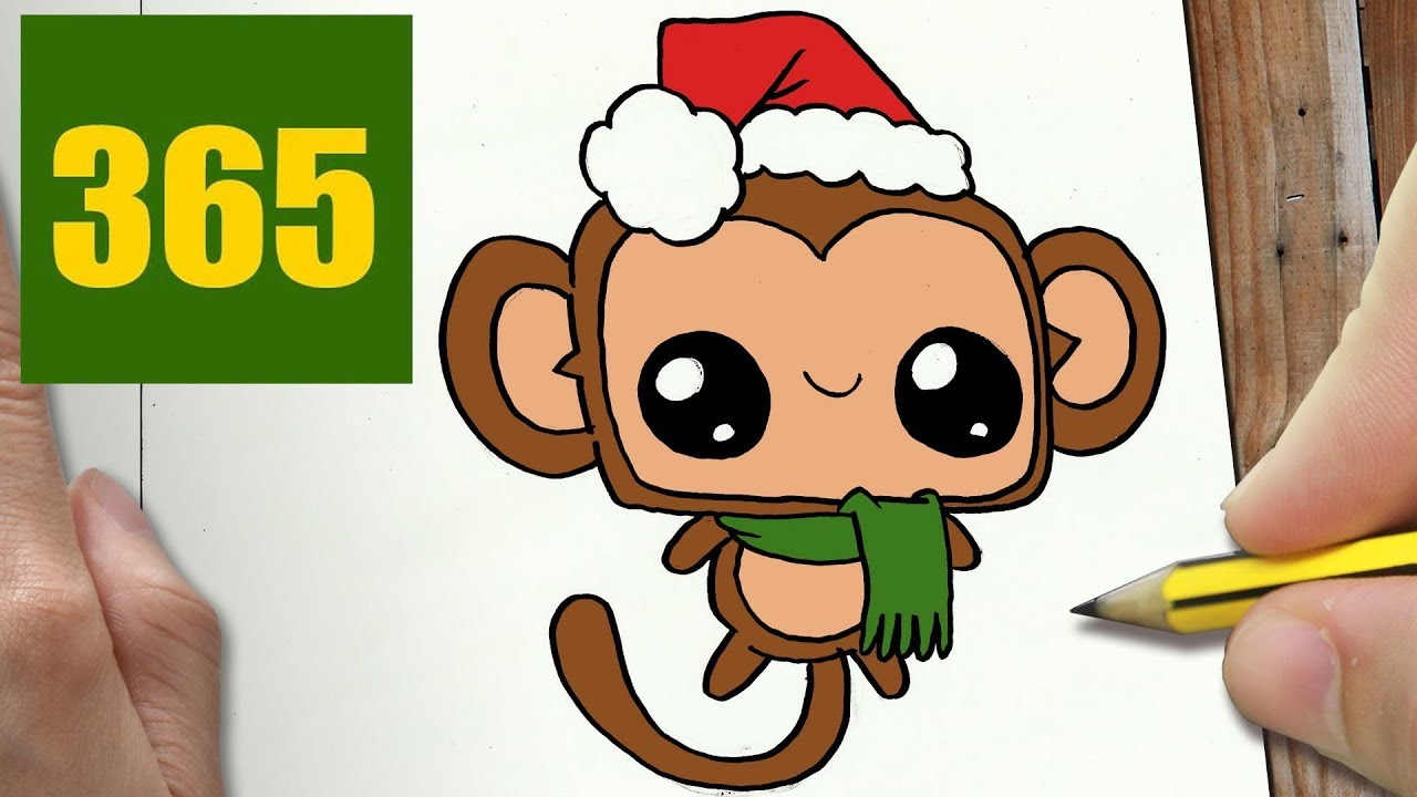 HOW TO DRAW A MONKEY CHRISTMAS CUTE, Easy step by step ...