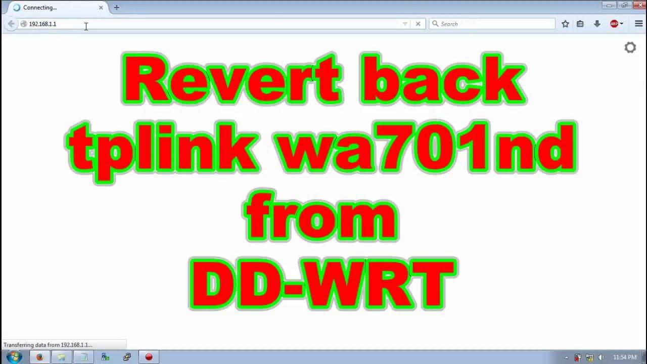 TPlink wa701nd back to original firmware from DDwrt