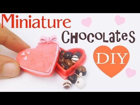DIY MINIATURE VALENTINE'S DAY CHOCOLATE BOX Polymer Clay Tutorial how to make dollhouse diy craft