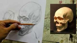 Обучение рисунку. Портрет. 19 серия: рисунок черепа в 2 ракурсах, 1 часть.(В этой серии мы рассмотрим более длительный рисунок черепа в три четверти. В начале ролика большое внимание..., 2014-09-08T05:29:21.000Z)