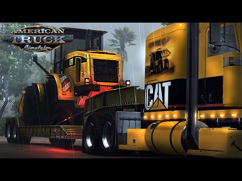 American Truck Simulator - Rainy morning CAT Wheel Loader delivery