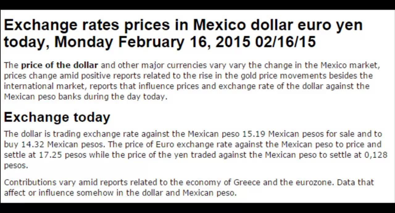 Dollar Prices Exchange Rate Mexico Forex Market Today February Monday 16 2017 02 15