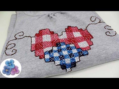 Como hacer camisetas personalizadas coraz n en punto de cruz san valentin pintura facil youtube - Como hacer mantas de punto ...