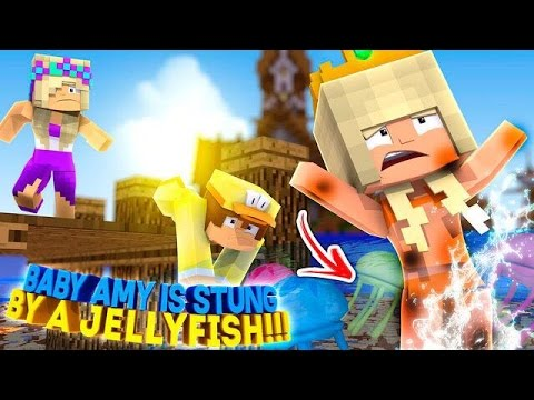 BABY AMY IS STUNG BY A HUGE JELLYFISH-Into The Future!!!- Baby Leah Minecraft Adventures!