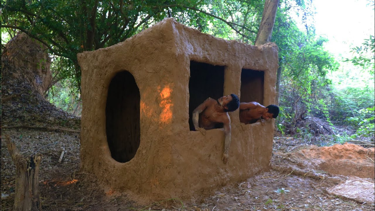 Primitive tool build primitive mud house youtube for Tools to build a house