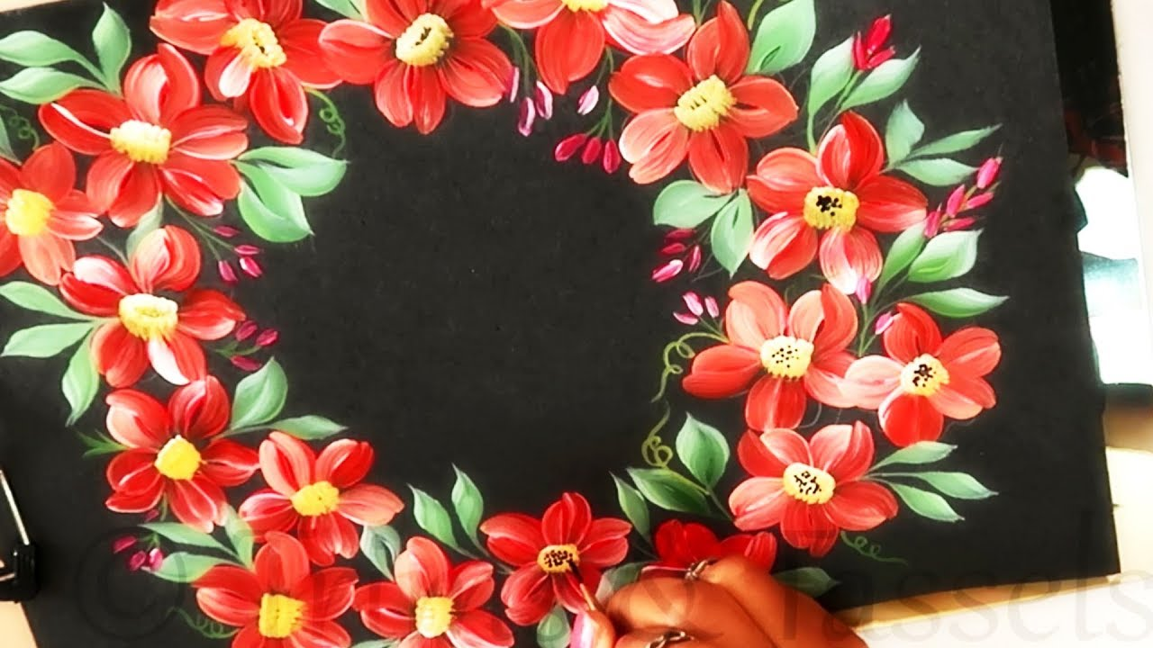 How To Make Easy One Stroke Flowers Wreath One Stroke Painting Design Easy Painting Ideas Youtube