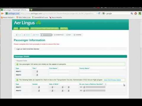 Booking Flights on Aer LIngus.com (TomWillFixIT.com)