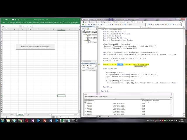 0039. Excel VBA: Textdatei in Array einlesen, filtern und ausgeben