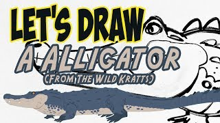 Drawing a Alligator from Wild Kratts with basic shapes and lines