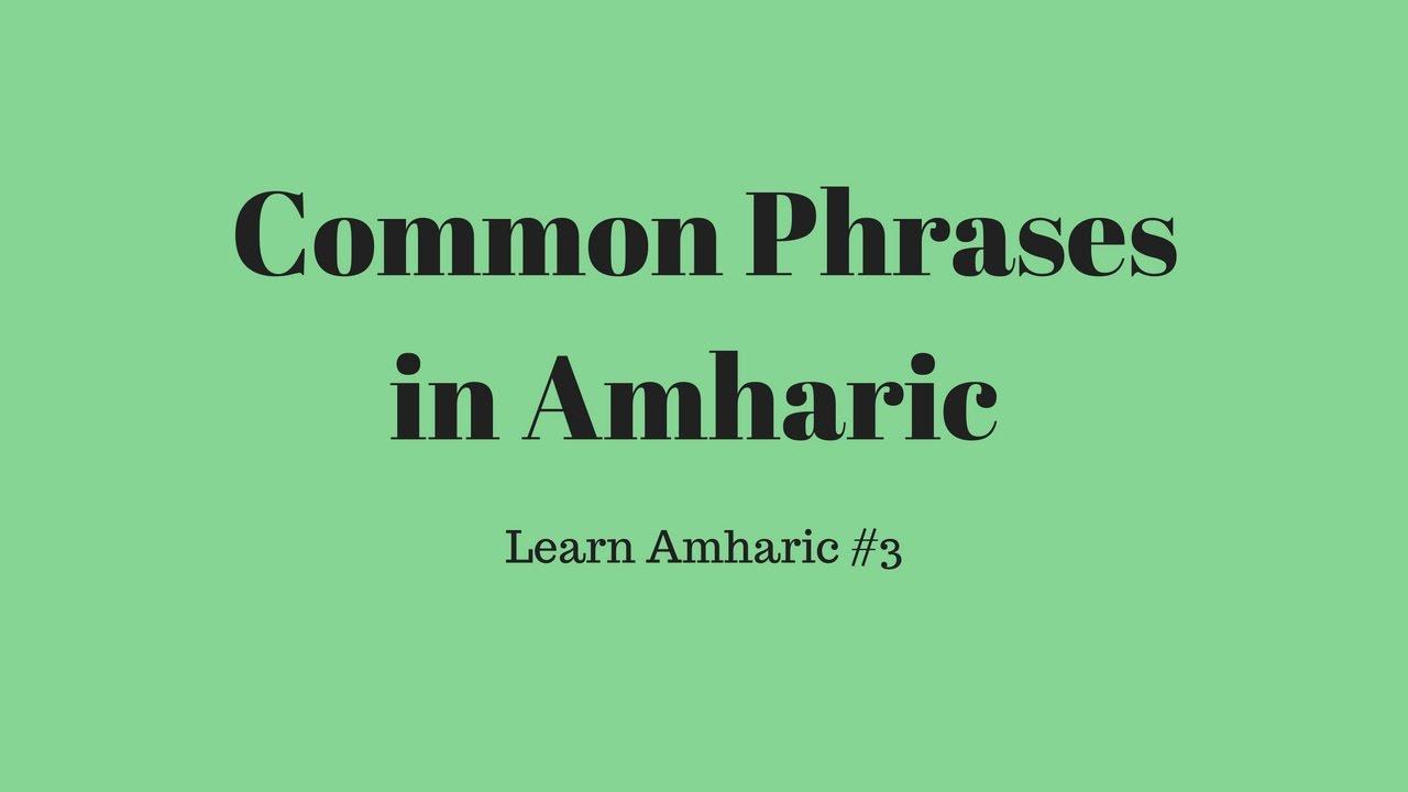 Common Phrases In Amharic Feasa Languages