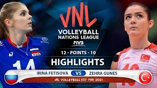 Irina Fetisova vs Zehra Güneş | Russia vs Turkey | VNL 2021 (HD)
