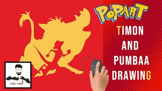 Draw Timon and Pumbaa !! PopArt !! The Lion King !! CLICK and DRAW !!