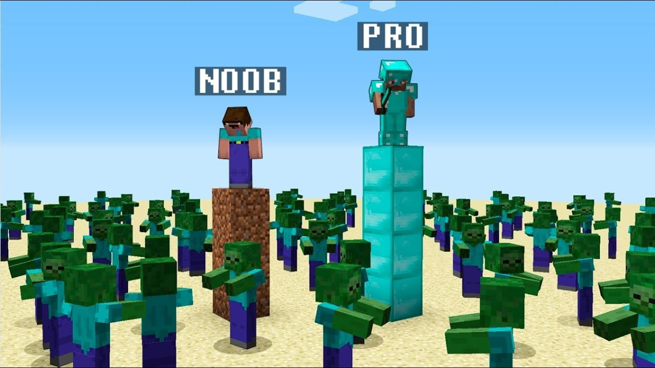 Minecraft Noob vs. Pro : ZOMBIE APOCALYPSE challenge 3 - funny Minecraft battle