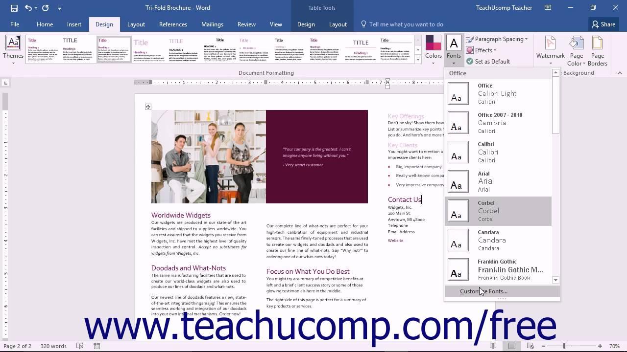 word 2016 tutorial customizing theme fonts microsoft training word 2016 tutorial customizing theme fonts microsoft training