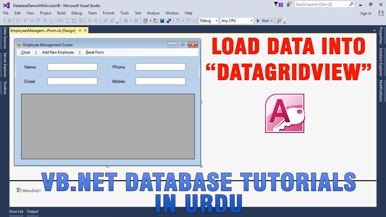 Vb. Net database access.