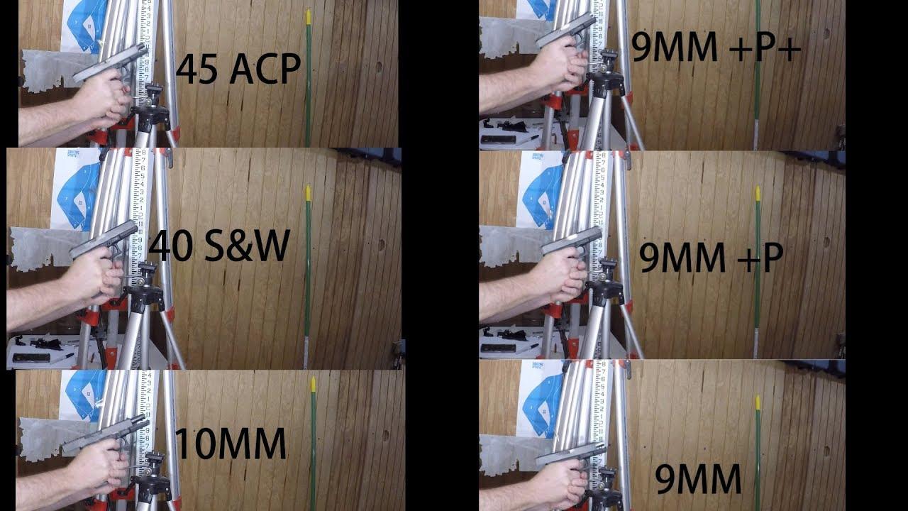 CALIBER RECOIL SHOOTING COMPARISON BETWEEN 10MM 9MM 45 ACP 40 CAL GLOCKS